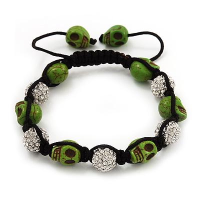 Light Green Skull Shape Stone Beads & Crystal Balls Buddhist Bracelet - 11mm diameter - Adjustable