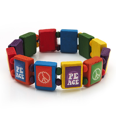 Multicoloured Wood 'Peace' Stretch Bracelet - up to 20cm length
