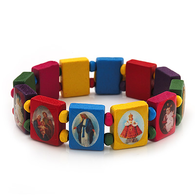 Stretch Multicoloured Wooden Saints Bracelet / Jesus Bracelet / All Saints Bracelet - Up to 20cm Length - main view
