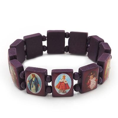 Stretch Purple Wooden Saints Bracelet / Jesus Bracelet / All Saints Bracelet - Up to 20cm Length