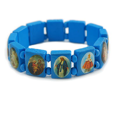 Stretch Blue Wooden Saints Bracelet / Jesus Bracelet / All Saints Bracelet - Up to 20cm Length