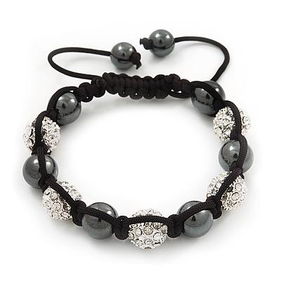 Unisex Buddhist Bracelet Clear Swarovski Crystal&Hematite Beads 10mm - Adjustable
