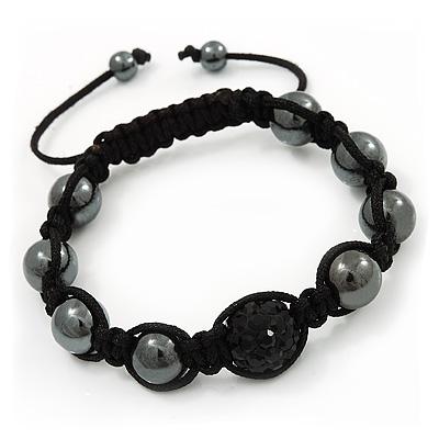 Hematite & Jet Black Swarovski Crystal Beaded Buddhist Bracelet - Adjustable - 11mm Diameter