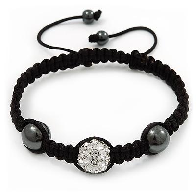Hematite & Clear Swarovski Crystal Beaded Buddhist Bracelet - Adjustable - 12mm Diameter