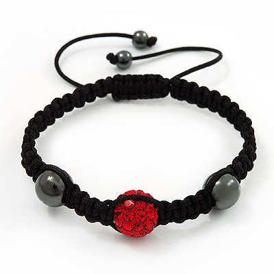 Hematite & Bright Red Swarovski Crystal Beaded Buddhist Bracelet - Adjustable - 12mm Diameter