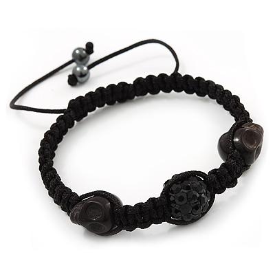 Skull & Black Crystal Beaded Buddhist Bracelet - Adjustable - 12mm Diameter