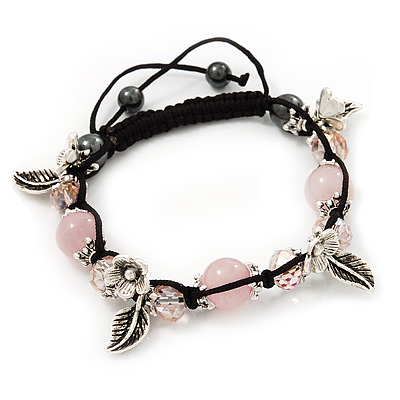 Burn Silver Floral Pink Glass Beaded Buddhist Bracelet - Adjustable