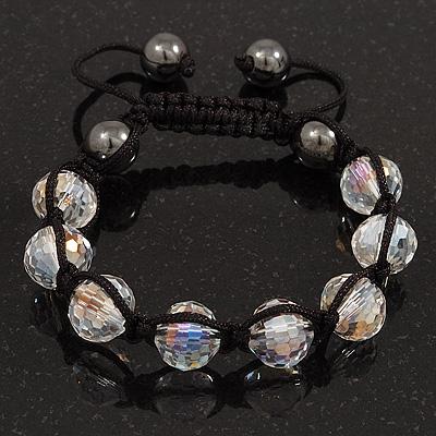 Transparent Crystal Beaded Buddhist Bracelet - Adjustable - 11mm Diameter
