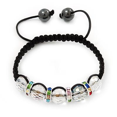 Transparent Crystal Beaded & Multicoloured Crystal Rings Buddhist Bracelet - Adjustable - 11mm Diameter