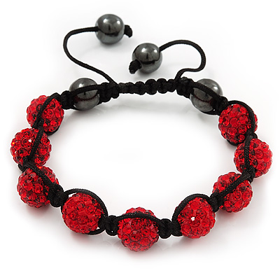 Unisex Ruby Red Coloured Swarovski Crystal Balls & Smooth Round Hematite Beads Buddhist Bracelet - 12mm - Adjustable