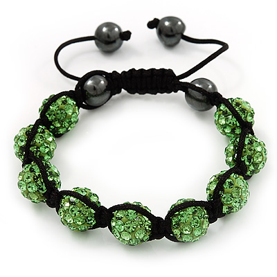 Unisex Grass Green Swarovski Crystal Balls & Smooth Round Hematite Beads Buddhist Bracelet - 12mm - Adjustable - main view