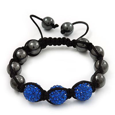 Hematite & Royal Blue Swarovski Crystal Beaded Buddhist Bracelet - Adjustable - 11mm Diameter