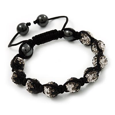 Black/Grey/Clear Swarovski Crystal & Hematite Beaded Buddhist Bracelet - Adjustable - 10mm Diameter
