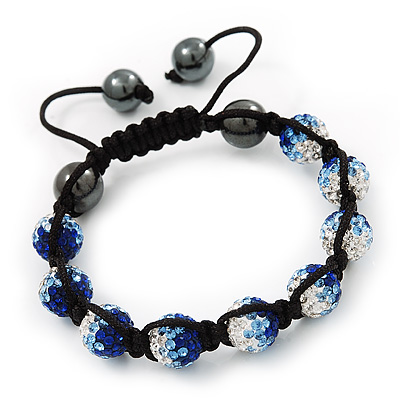 Royal Blue/Sky Blue/Clear Swarovski Crystal & Hematite Beaded Buddhist Bracelet - Adjustable - 10mm Diameter