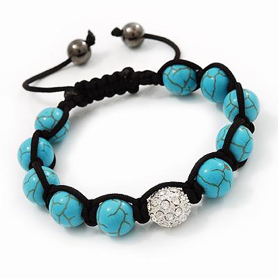 Unisex Turquoise Bead Buddhist Bracelet - 9mm - Adjustable