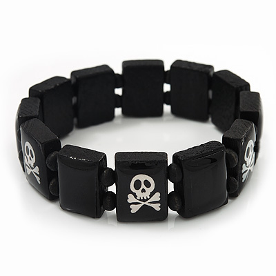 Black/White Wood Flex 'Skull & Crossbones' Bracelet - up to 20cm Length