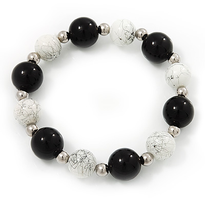 Black/ White Ceramic Bead Flex Bracelet - 21cm Length - main view