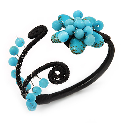 Turquoise Beaded 'Flower' Flex Bangle Bracelet - Adjustable - main view