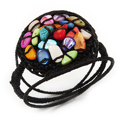 Multicoloured Shell Beaded Wired Flex Bracelet - Adjustable - main view