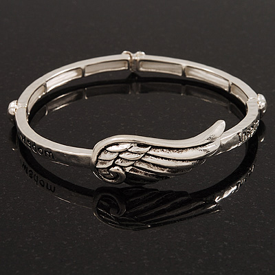 Burn Silver 'Wisdom, Passion, Courage, Inspire' Wing Flex Bracelet - up to 20cm Length
