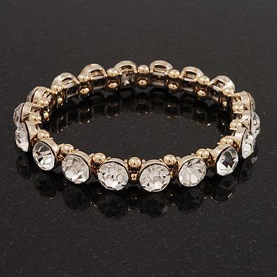 Clear Glass Crystal Flex Bracelet In Gold Finish - 18cm Length