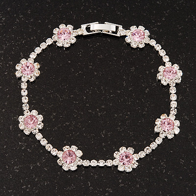Pink/Clear Swarovski Crystal Floral Bracelet In Rhodium Plated Metal - 17cm Length