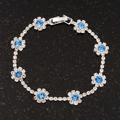 Violet Blue/Clear Swarovski Crystal Floral Bracelet In Rhodium Plated Metal - 17cm Length