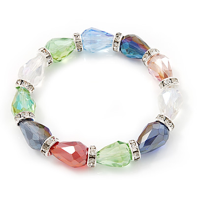 Multicoloured Glass Bead With Clear Crystals Silver Rings Flex Bracelet - 18cm - main view