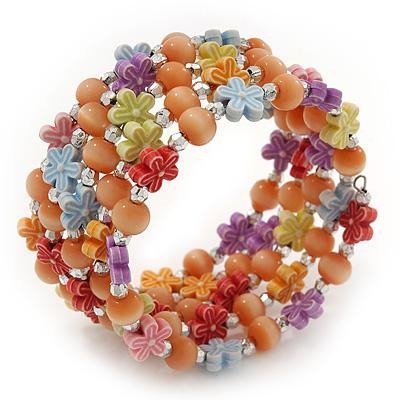 Acrylic Flower Bead Coil Flex Bracelet (Orange) - Adjustable