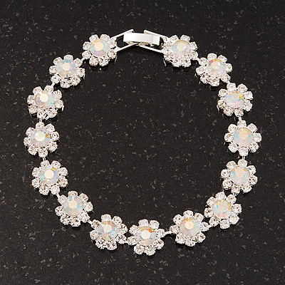 Clear/ AB Crystal Floral Bracelet In Rhodium Plated Metal - 17cm Length