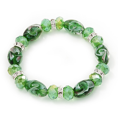 Floral Green Glass Bead & Crystal Ring Flex Bracelet - Up to 21cm Length - main view
