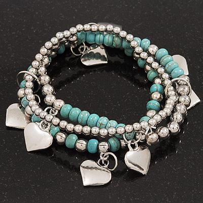 3-Strand Turquoise Stone & Silver Metal Bead 'Heart' Charm Flex Bracelet - 19cm Length - main view