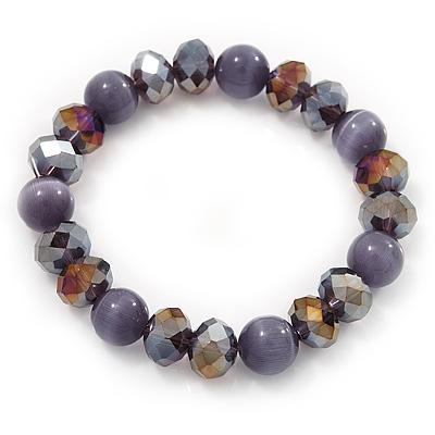 Purple Glass Bead Flex Bracelet - 18cm Length - main view