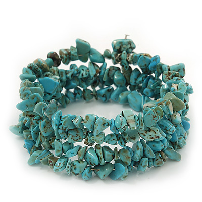 Turquoise Bead Coil Flex Bangle Bracelet (Semi-precious stone) - Adjustable