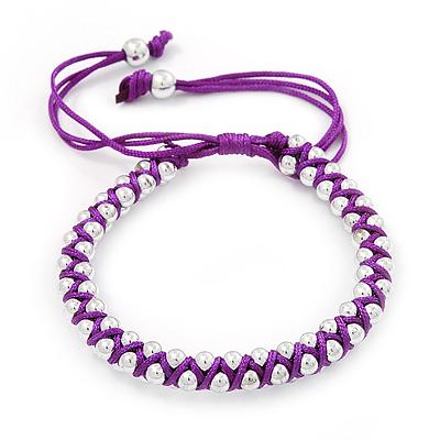 Plaited Purple Silk Cord With Silver Tone Bead Friendship Bracelet - Adjustable - main view