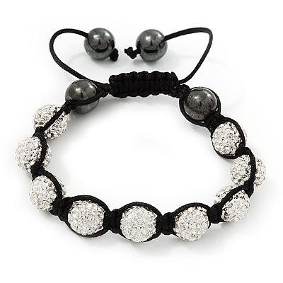 Clear Swarovski Crystal & Hematite Beaded Buddhist Bracelet - Adjustable - 10mm Diameter