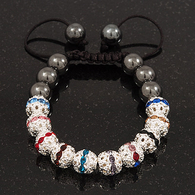 Hematite & Multicoloured Swarovski Crystal Beaded Buddhist Bracelet - Adjustable - 10mm Diameter - main view