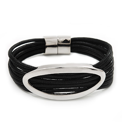 Silver Tone Oval Black Cotton Cord Magnetic Bracelet - 19cm Length - main view