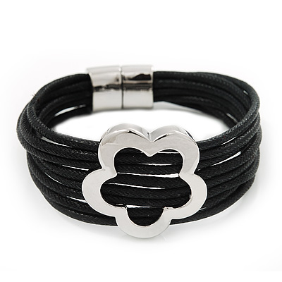 Silver Tone Flower Black Cotton Cord Magnetic Bracelet - 19cm Length
