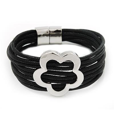 Silver Tone Flower Black Cotton Cord Magnetic Bracelet - 19cm Length - main view