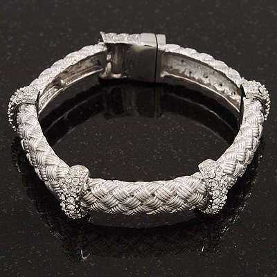 Stylish Braided Diamante Magnetic Bracelet In Matt Silvertone - 17cm Length