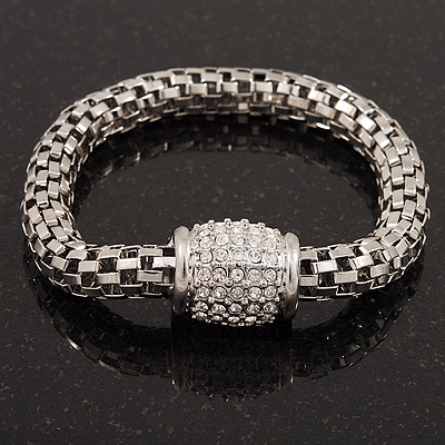 Silver Plated Diamante Mesh Magnetic Bracelet - 19cm Length