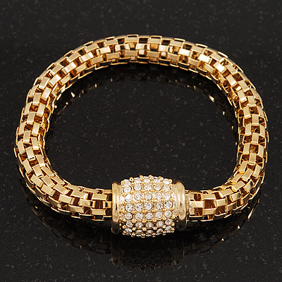 Gold Plated Diamante Mesh Magnetic Bracelet - 19cm Length
