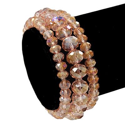 Set Of 3 Pale Pink Glass Flex Bracelets - 18cm Length
