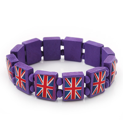 UK British Flag Union Jack Purple Stretch Wooden Bracelet - up to 20cm length
