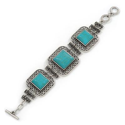 Vintage Turquoise Stone Square Filigree Bracelet With Toggle Clasp -18cm Length