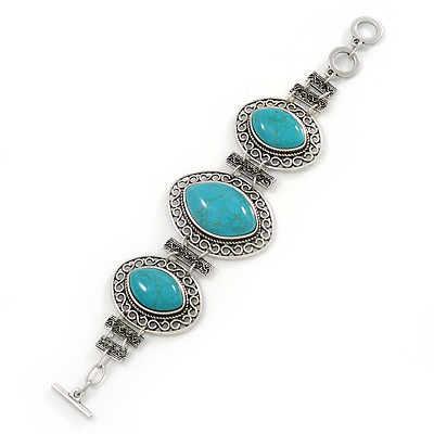 Vintage Turquoise Stone, Oval Filigree Bracelet With Toggle Clasp -18cm Length