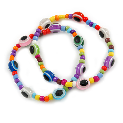 Set Of 2 Multicoloured 'Evil Eye' Flex Teen Bracelets - Adjustable