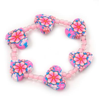 Children's Pink Acrylic 'Heart' Bracelet - Adjustable