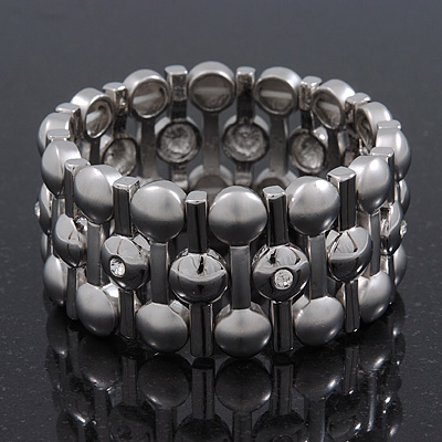 Matt/Polished Silver Bar Crystal Flex Bracelet - 18cm Length